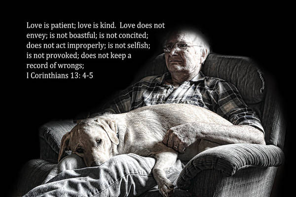 Scripture Art Print featuring the photograph Man And His Dog At Rest 1cor.13v4-5 by Linda Phelps