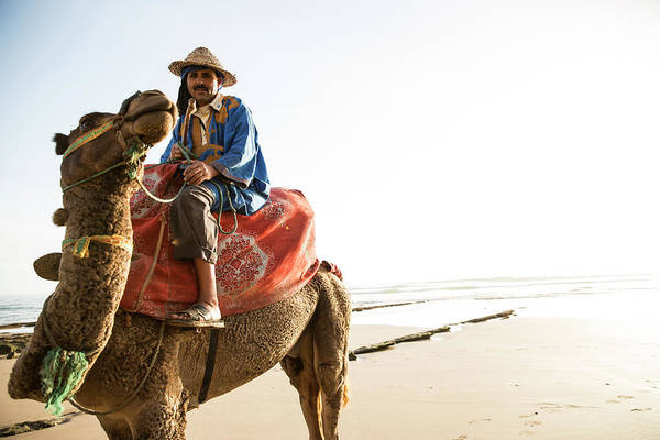 Agadir Art Print featuring the photograph Man On Camel On Beach, Taghazout by Tim E White