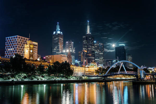 Clock Tower Art Print featuring the photograph Melbourne In Night by Kenji Lau