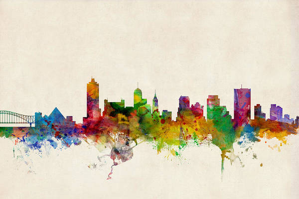 Watercolour Art Print featuring the digital art Memphis Tennessee Skyline by Michael Tompsett