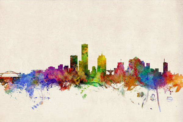 Watercolour Art Print featuring the digital art Milwaukee Wisconsin Skyline by Michael Tompsett