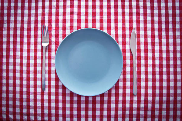 Empty Art Print featuring the photograph Modern Blue Plate On Red Checkered by Kkong5