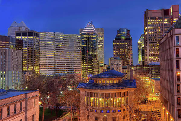 Tranquility Art Print featuring the photograph Montreal Downtown At Dusk Hdr II by Jean Surprenant
