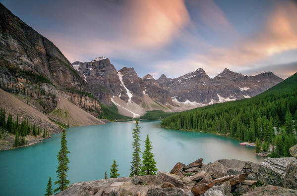 Scenics Art Print featuring the photograph Moraine Lake, Banff National Park by Photographed By Owen O'grady