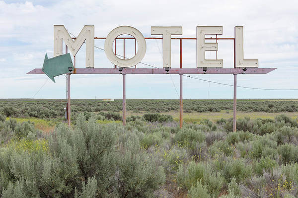 Grass Art Print featuring the photograph Motel Sign In Field Of Sage Brush, Out by Mint Images