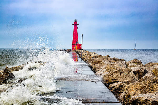 Lake Michigan Art Print featuring the photograph Muskegon Channel South Pier Lighthouse and Wave, Lake Michigan by Photography by Deb Snelson