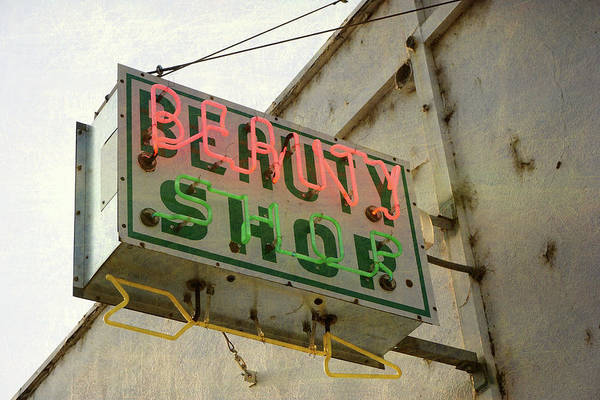 Pole Art Print featuring the photograph Neon Beauty Shop Sign by Smodj