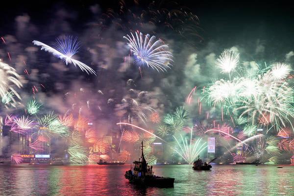 Firework Display Art Print featuring the photograph New Year Fireworks Hong Kong Asia by Steffen Schnur