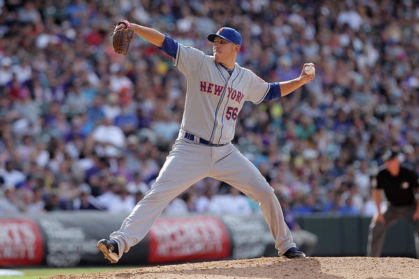Relief Pitcher Art Print featuring the photograph New York Mets V Colorado Rockies by Doug Pensinger