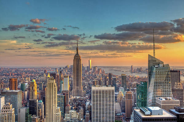 Tranquility Art Print featuring the photograph New York Skyline Sunset by Basic Elements Photography