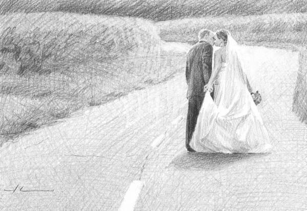 <a Href=http://miketheuer.com Target =_blank>www.miketheuer.com</a> Art Print featuring the drawing Newlyweds Walking Kissing Pencil Portrait by Mike Theuer