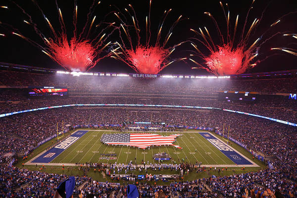 Firework Display Art Print featuring the photograph Nfl Sep 18 Lions At Giants by Icon Sportswire