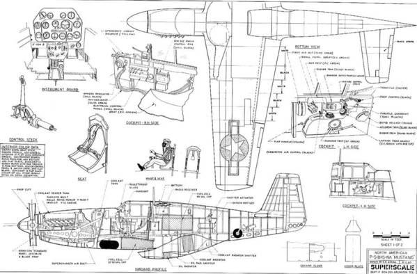 North American Mustang P51-B Schematic Diagram Art Print by John KingFine Art America
