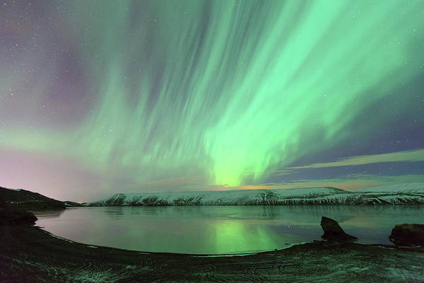 Scenics Art Print featuring the photograph Northern Lights In Iceland by By Chakarin Wattanamongkol