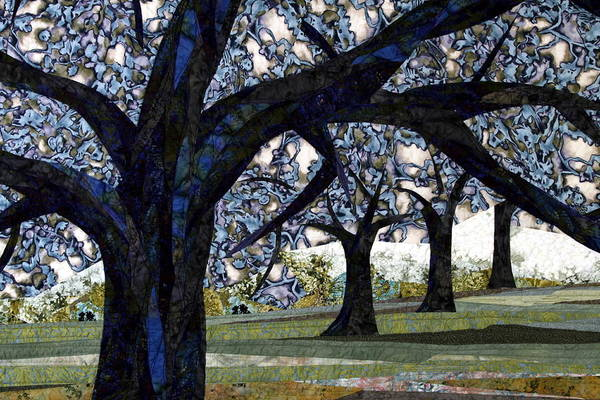 Trees Art Print featuring the tapestry - textile Oak Veiling by Linda Beach