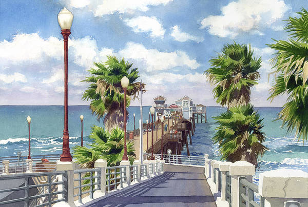 Oceanside Art Print featuring the painting Oceanside Pier by Mary Helmreich