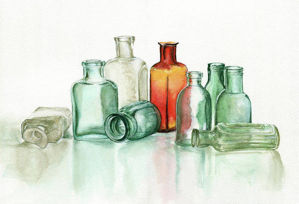 Material Art Print featuring the photograph Old Pharmacys Glassware by Sergey Ryumin