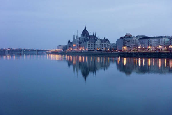 Tranquility Art Print featuring the photograph Parliament Building In Budapest At Dawn by G.g.bruno