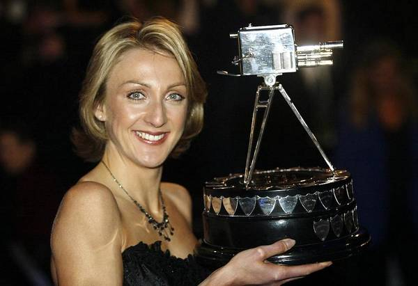 Bbc Television Centre Art Print featuring the photograph Paula Radcliffe poses with the BBC sports personality of the year award by Warren Little