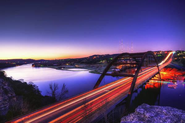 Tranquility Art Print featuring the photograph Pennybacker Bridge by John Cabuena Flipintex Fotod