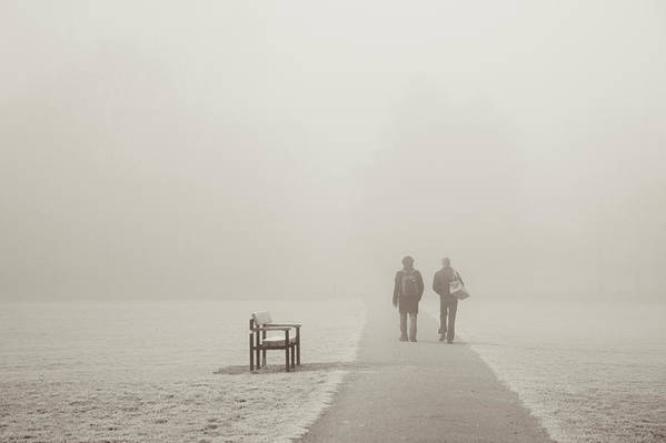 Cool Attitude Art Print featuring the photograph People Walking On A Misty Morning by Elaine W Zhao