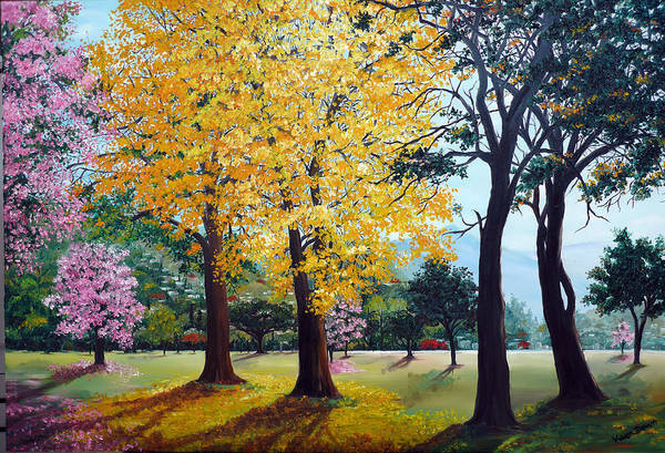 Tree Painting Landscape Painting Caribbean Painting Poui Tree Yellow Blossoms Trinidad Queens Park Savannah Port Of Spain Trinidad And Tobago Painting Savannah Tropical Painting Art Print featuring the painting Poui Trees in the Savannah by Karin Dawn Kelshall- Best