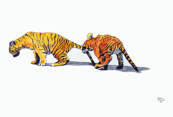 Tigers Art Print featuring the painting Pulling A Tiger By The Tail by Michael Diamond OConnell