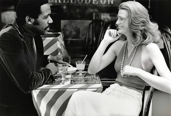 Actor Art Print featuring the photograph Richard Roundtree And Model At Cafe by Rico Puhlmann