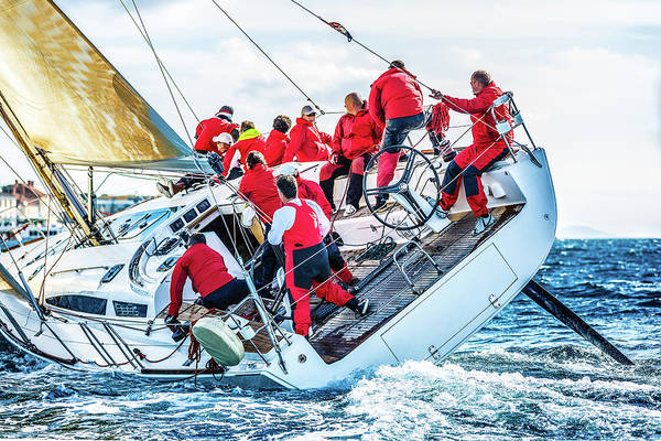 Adriatic Sea Art Print featuring the photograph Sailing Crew On Sailboat During Regatta by Mbbirdy