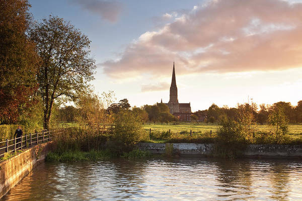 Tranquility Art Print featuring the photograph Salisbury Cathedral And The River Avon by Julian Elliott Photography