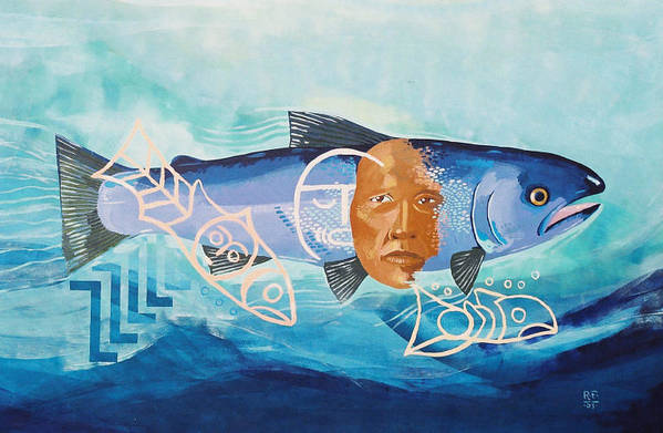 Roger Fernandes Lower Elwha Tribe Of Washington State Art Print featuring the photograph Salmon Spirit in Blue by Roger Fernandes Lower Elwha tribe