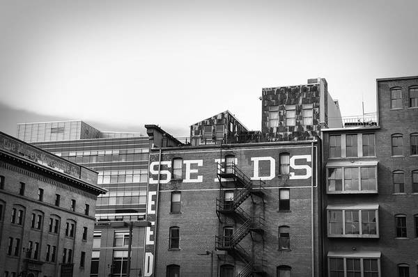 Black And White Art Print featuring the photograph Seeds Building Two by Todd Hartzo