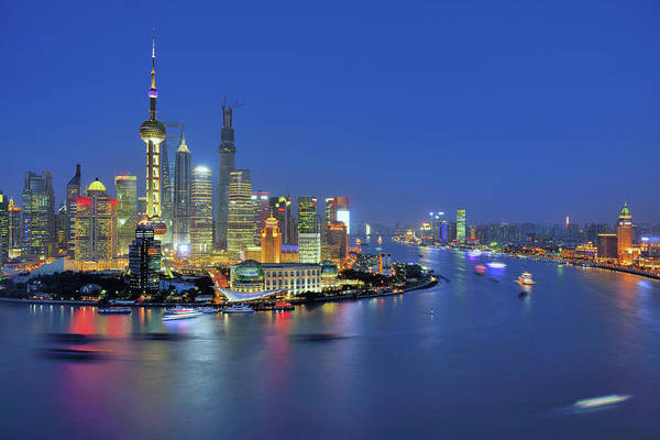 Clear Sky Art Print featuring the photograph Shanghai Cityscape Across Huangpu River by Wei Fang