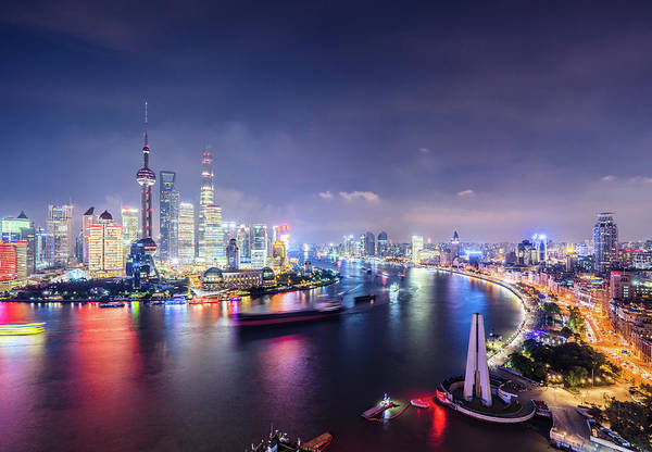 Downtown District Art Print featuring the photograph Shanghai Skyline At Night by Yongyuan Dai