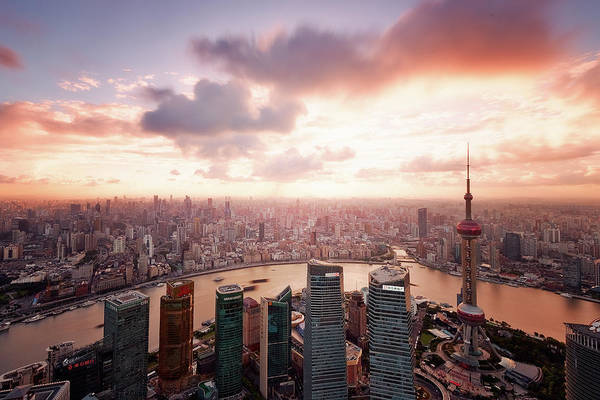 Tranquility Art Print featuring the photograph Shanghai With Drifting Clouds by Blackstation