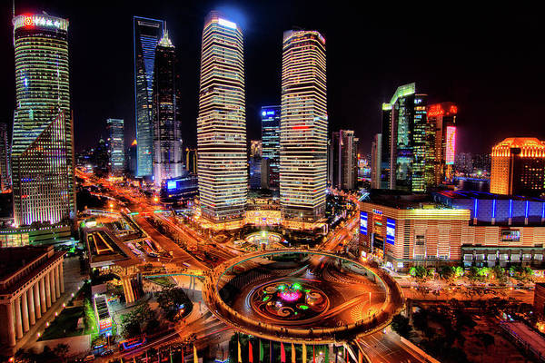Financial District Art Print featuring the photograph Shanghais Financial City Center by Mimo Khair Photography