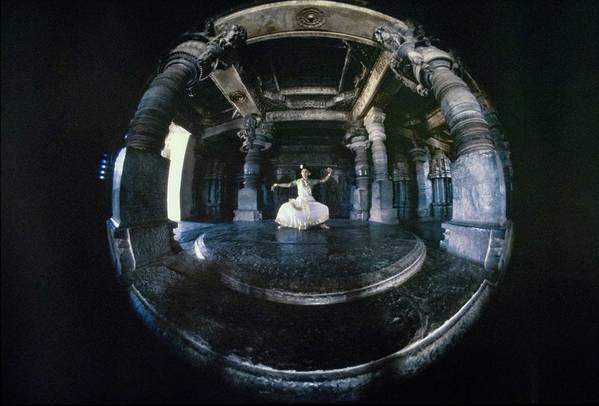 Dance Art Print featuring the photograph Shanta Rao Performing In Halebidu Temple by Arnaud de Rosnay