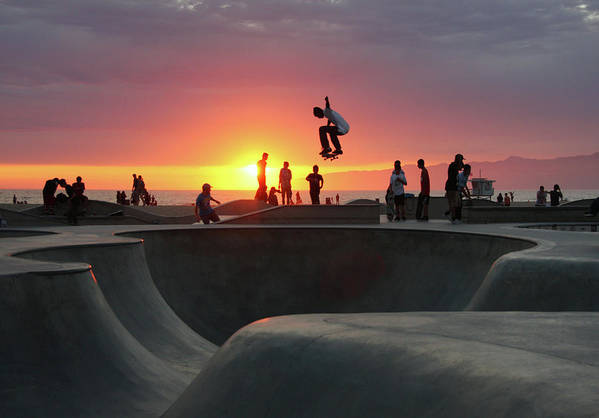 Expertise Art Print featuring the photograph Skateboarding At Venice Beach by Mgs