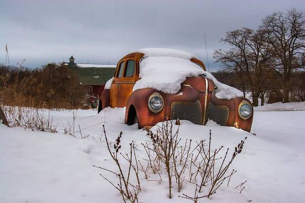Abandoned Art Print featuring the photograph Snow Covered De Soto by Chuck De La Rosa