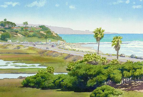 Solana Beach Art Print featuring the painting Solana Beach California by Mary Helmreich