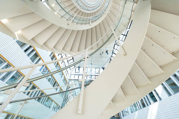 Steps Art Print featuring the photograph Spiral Staircase Inside Office Complex by Blurra
