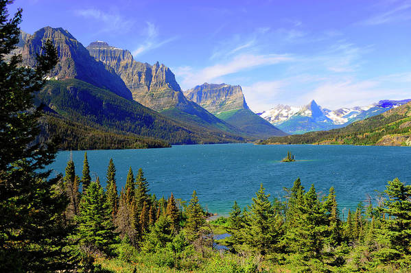 Scenics Art Print featuring the photograph St. Mary Lake, Glacier National Park by Dennis Macdonald