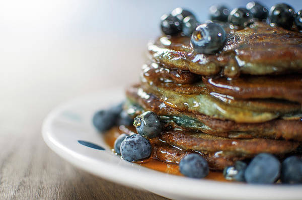 Unhealthy Eating Art Print featuring the photograph Still Life Of Blueberry Pancakes With by Matt Walford