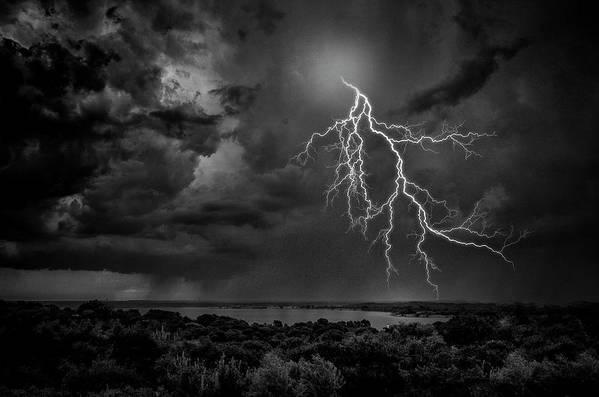 Outdoors Art Print featuring the photograph Storm Over Benbrook Lake by Dean Fikar