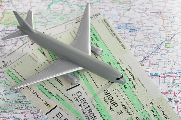 Airplane Art Print featuring the photograph Studio Shot Of Toy Airplane With by Vstock Llc