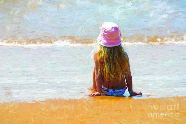 Little Girl On Beach Art Print featuring the photograph Summertime by Sheila Smart Fine Art Photography
