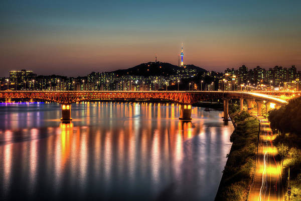 Seoul Art Print featuring the photograph Sungsu Bridge And Namsan by Thanks For Viewing! Www.johnsteelephoto.com