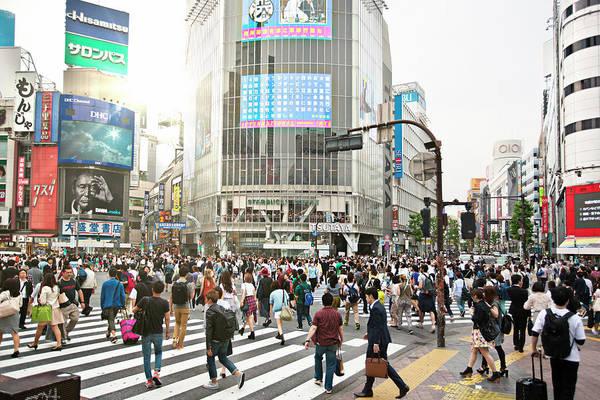 Crowd Art Print featuring the photograph Sunny Day In Shibuya by Xavierarnau