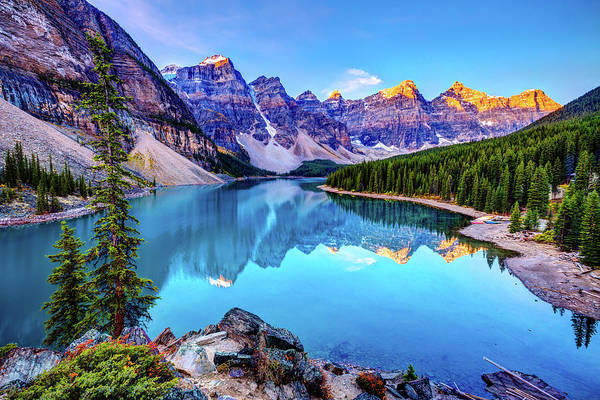 Tranquility Art Print featuring the photograph Sunrise At Moraine Lake by Wan Ru Chen