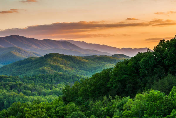 Smoky Mountains Art Print featuring the photograph Sunset In The Smoky's by Paul Johnson